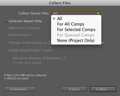 Option du menu Collect Files…